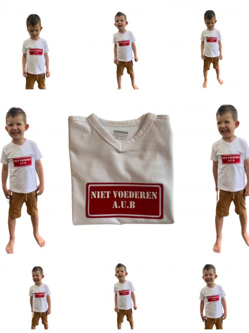 """Kinder T shirt """" NIET VOEDEREN AUB"""" wit"""