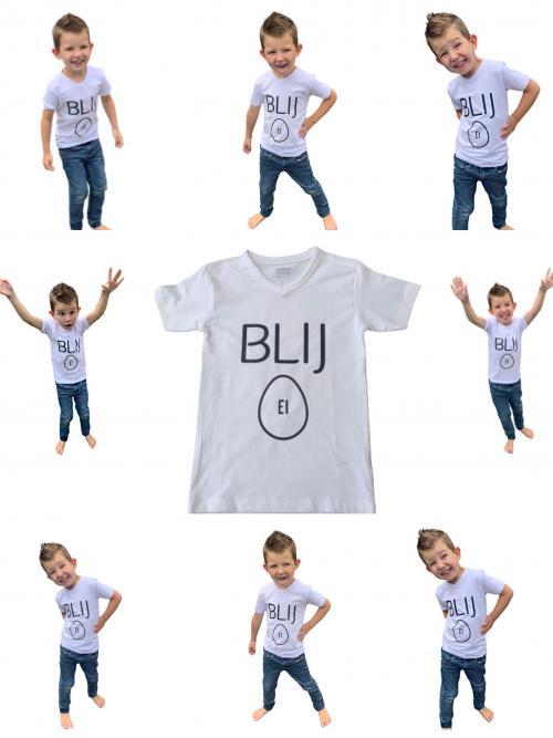 Kinder T -shirt ronde hals BLIJ EI