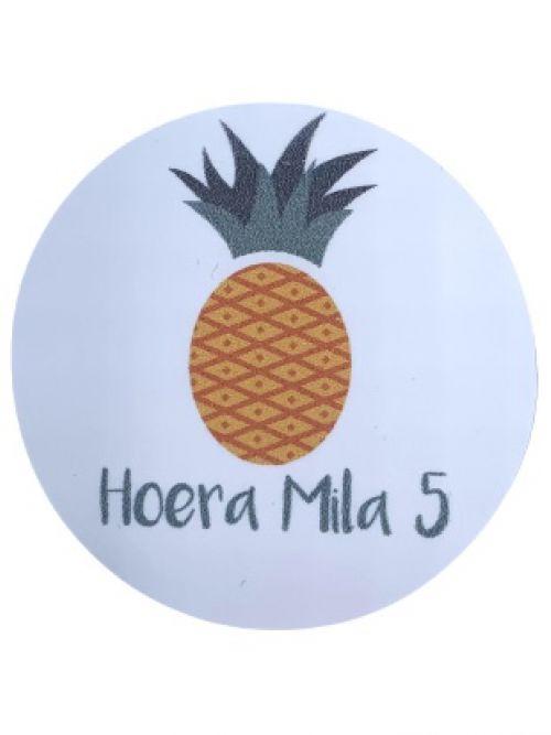 Verjaardagsticker ananas gepersonaliseerd (15st)