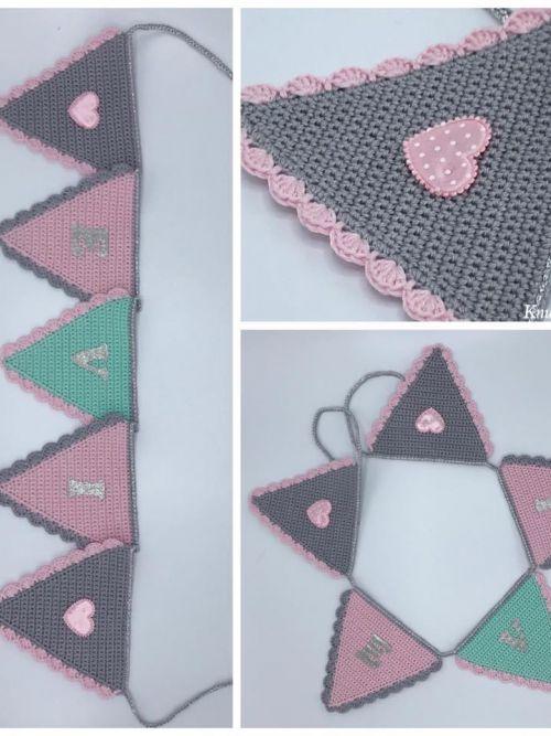 Vlaggenlijn grijs/roze/tiffany